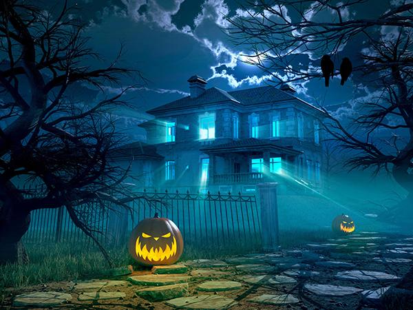 Kate Night Shady huts Pumpkin Lamps Scene Backdrop for Halloween Photography - Kate backdrop UK