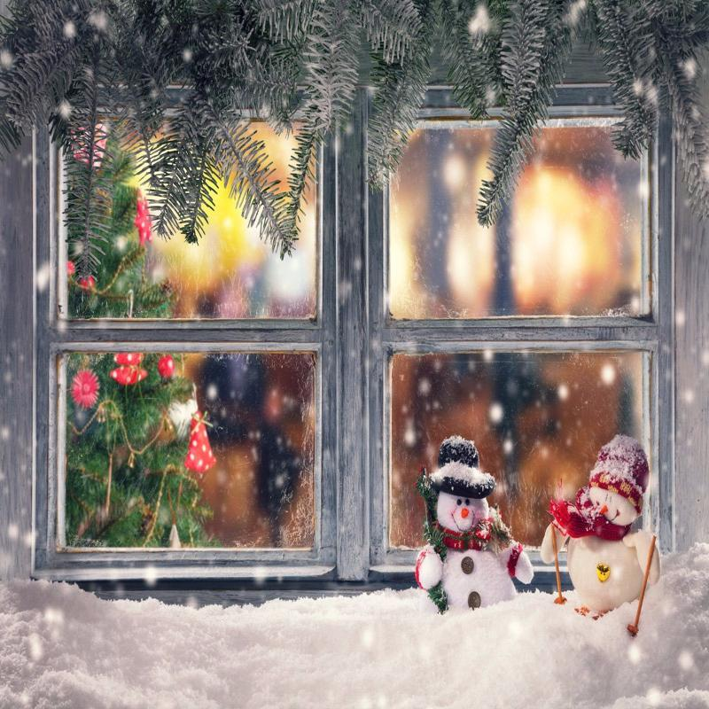 Kate Christmas wooden window Pine branches decoration photography backdrop