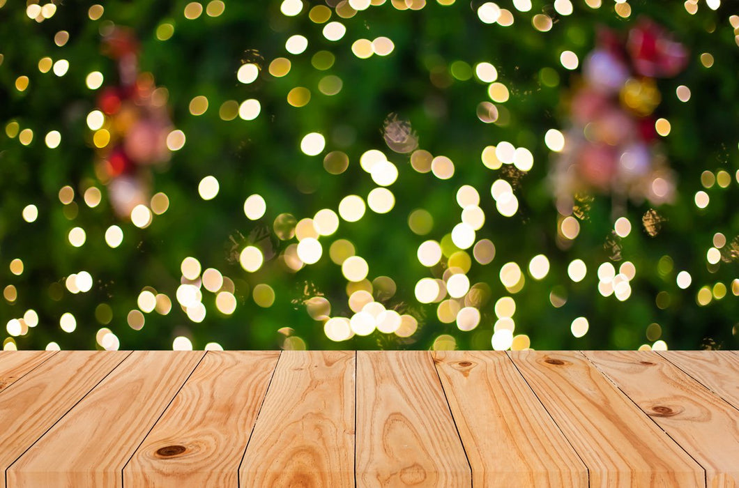Kate Light Brown Floor Green Blurring background Christmas Backdrop - Kate backdrops UK