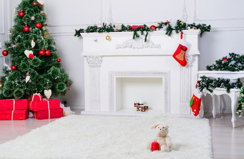 Katebackdrop£ºKate White Wall fireplace backdrop Christmas tree for photography