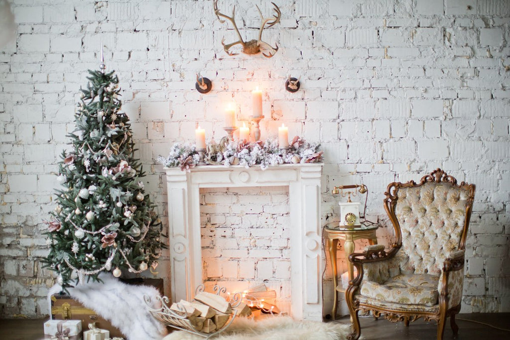 Kate Christmas White Brick Wall Fireplace Backdrop For Photos
