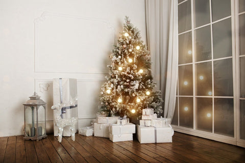 Kate Christmas backdrop white curtain Christmas tree backdrop 5x6.5ft(1.5x2m)-only three