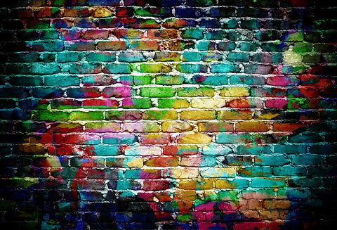Kate Color Brick Wall Backdrop Graffiti Backgrund for Photography 6.5x10ft(2x3m)-only one
