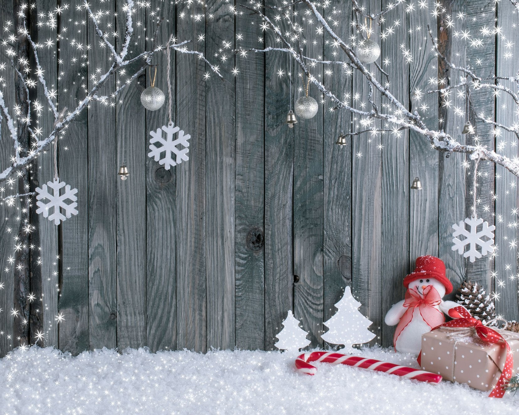 Load image into Gallery viewer, Katebackdrop:Kate Gray Wooden Background snowflake Outdoor decoration Christmas backdrop
