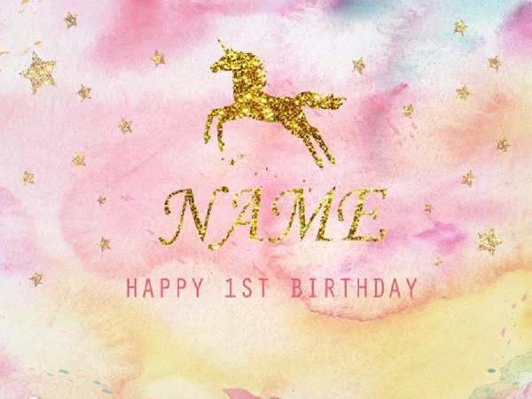Kate Baby Shower Backdrop Birthday Party Pink Background Golden Unicorn for Baby Photo - Kate backdrops UK