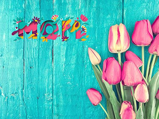 Kate Blue Green Wooden Wall Floor Red Floral Tulip Background - Kate backdrops UK