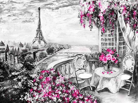Katebackdrop:Kate Black And White Flower Tree Hand Painting Backdrop Eiffel Tower Paris