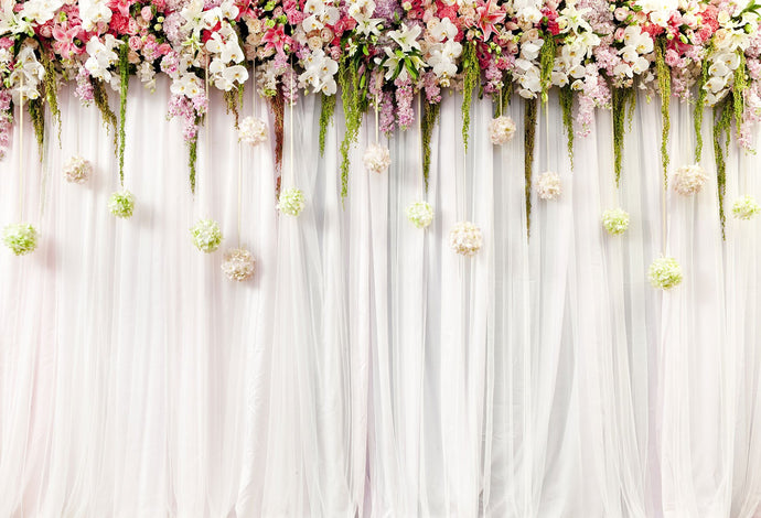 Kate white background with flower backdrop for wedding - Kate backdrops UK