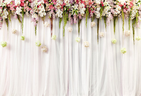 Katebackdrop:Kate white background with flower backdrop for photo booth 7x5ft(2.2x1.5m)-only one