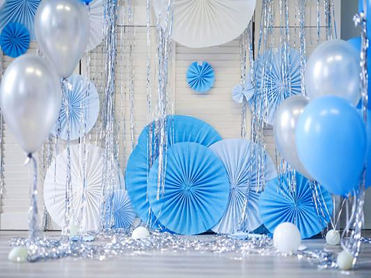 Katebackdrop£ºKate White Background Wall Blue White Balloons Photography Birthday Backdrops Party