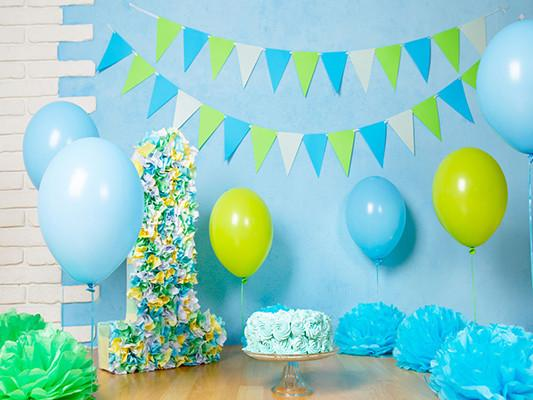 Kate Blue Wall Blue And Yellow Balloon Backdrop for 1st Birthday Photography - Kate backdrops UK