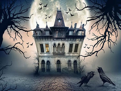 Katebackdrop£ºKate Castle Under Moon Photo Backdrop For Halloween Photography