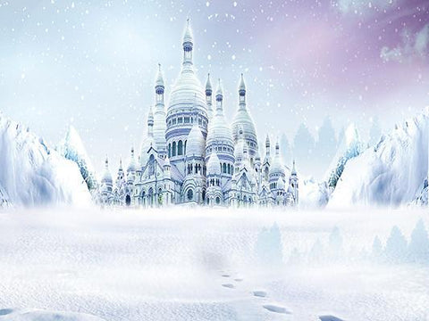 Katebackdrop£ºKate Fantasy Castle In Snow Photo Backdrop For Children Photography
