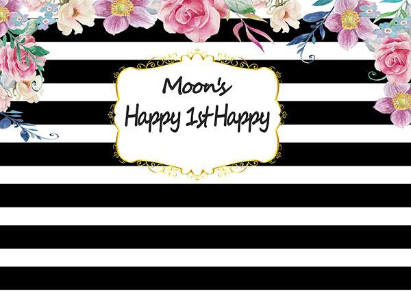 Katebackdrop£ºKate Happy Birthday Backdrop Custom Black And White Stripe Party Flower