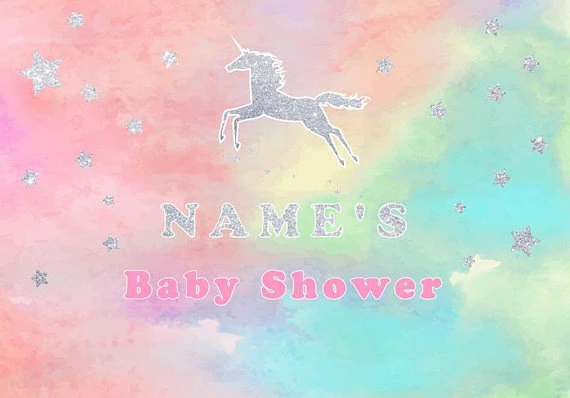 Kate Unicorn Colorful Sky Banner Photography Backdrops Custom Newborn Baby Photo