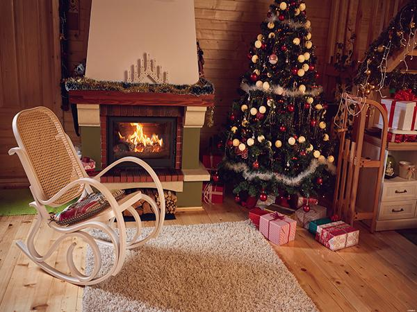 Kate Indoor Christmas Photography Backdrop Chair Floor Background