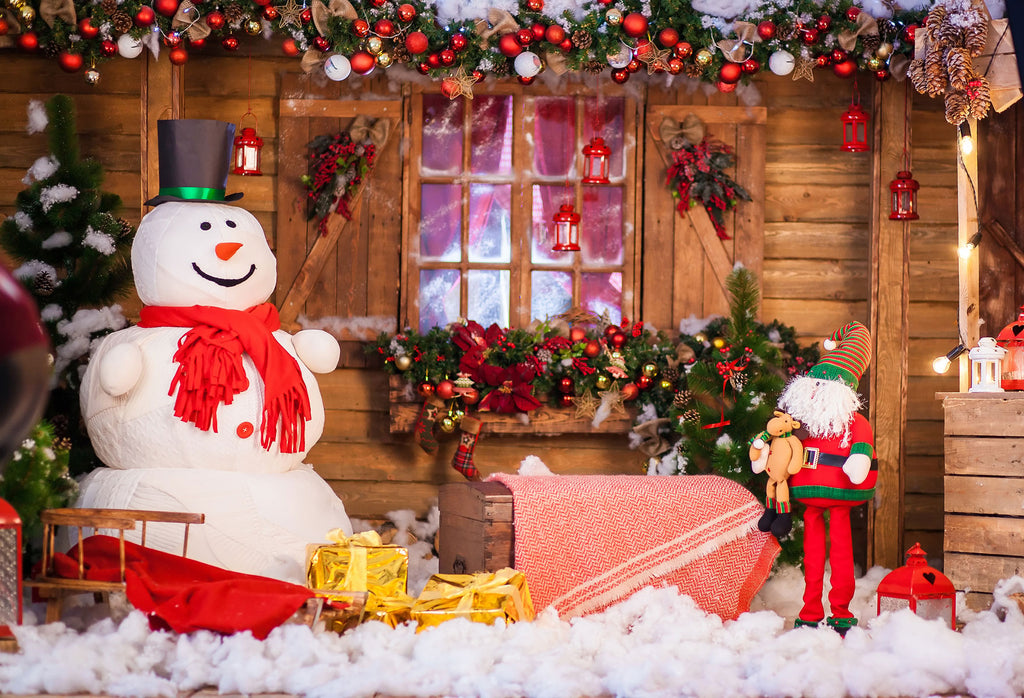 Kate Christmas Snowman Wood House Backdrops For Photography