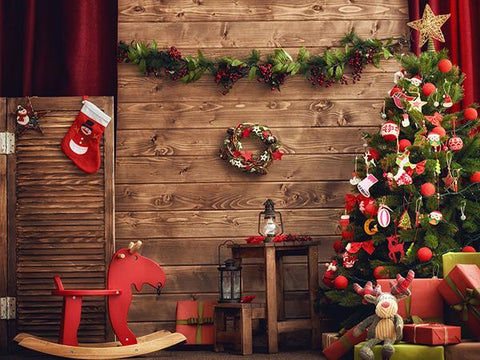 Kate Circle Flower Wood Santa Claus's workshop Backdrop for Christmas Photography