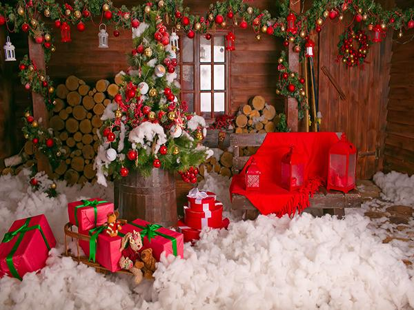 Load image into Gallery viewer, Kate Cotton Christmas Backdrop Wood Wall Decoration Background  Box gift for Children Photo