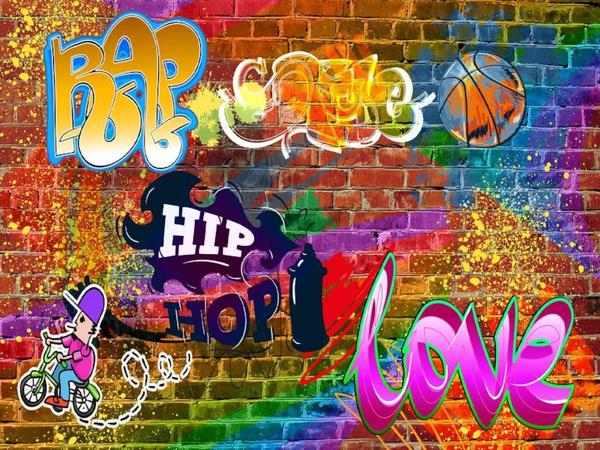 Kate Graffiti Hip Hop Backdrops Colorful Brick Wall Background 90's Party Decoration