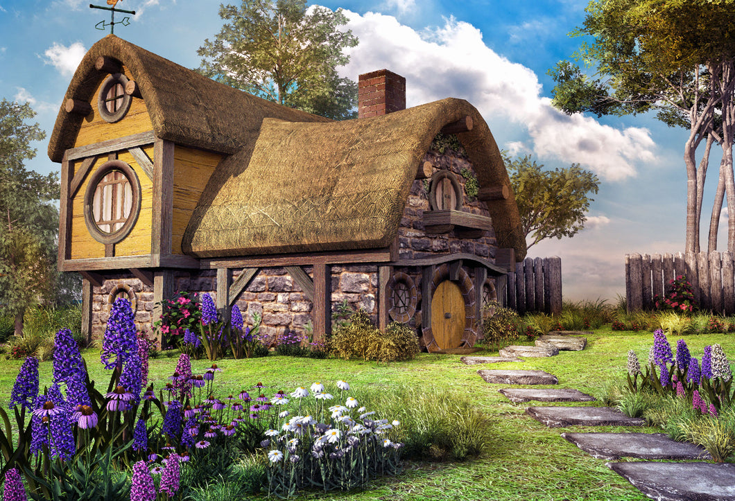Kate Fairy house with colorful flowers Backdrops for Photography