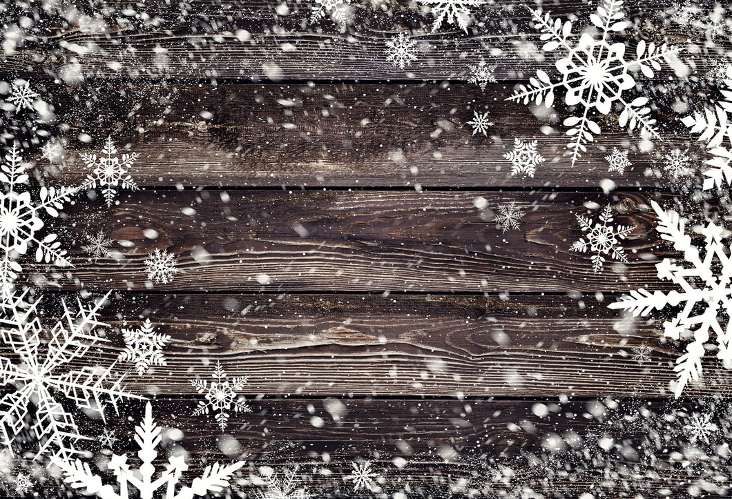 Kate Christmas Dark Winter Snowflake Wood Floor Backdrops for Photography