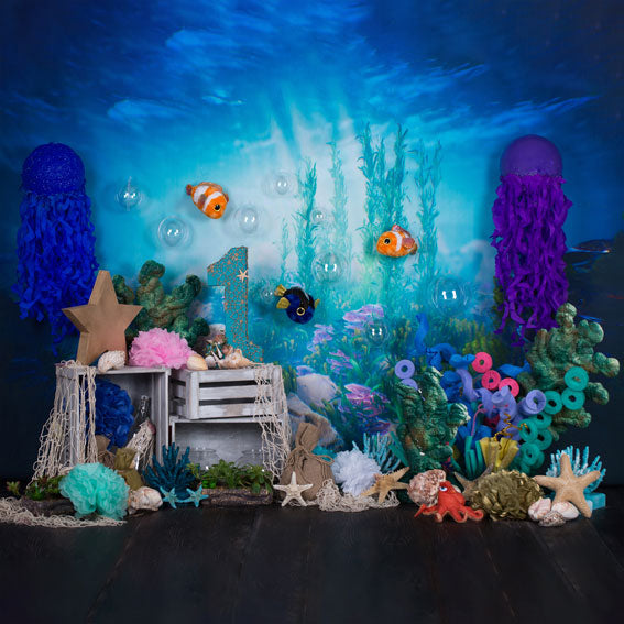Kate mermaid under sea 1st birthday cake smash backdrop designed by studio gumot