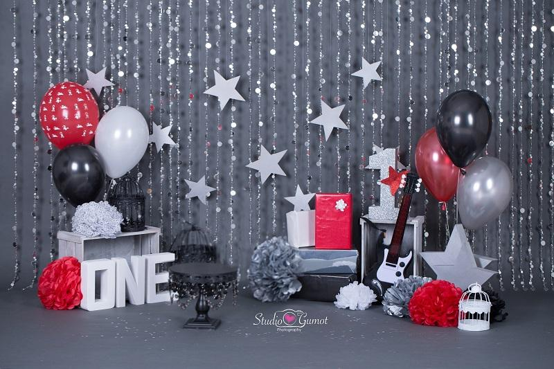 Kate rock star 1st birthday boy backdrop designed by studio gumot