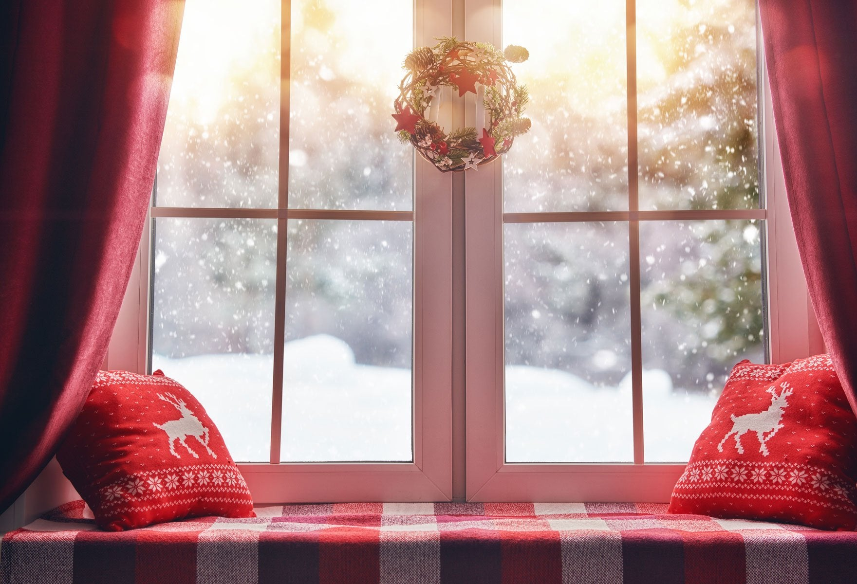 Load image into Gallery viewer, Kate Christmas Snow And Sunshine Outside Window Backdrops for Photography