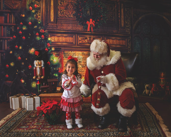 Kate Christmas fireplace Backdrop for Children Photography