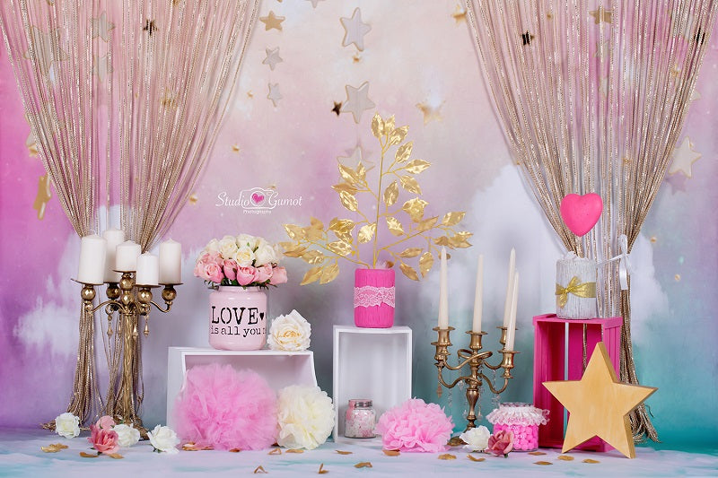 Kate Fantastic Cake Smash Birthday Backdrop With Curtains for Photography Designed by Christina Dash