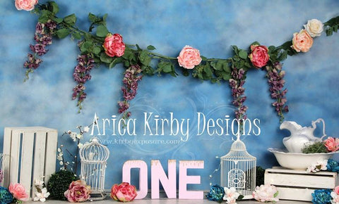 Kate 1st Birthday Floral Garden Backdrops print with ONE Designed by Arica Kirby - Kate backdrops UK