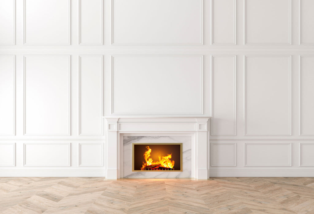 Kate Fireplace White Wall Wood Floor Backdrops for Photography