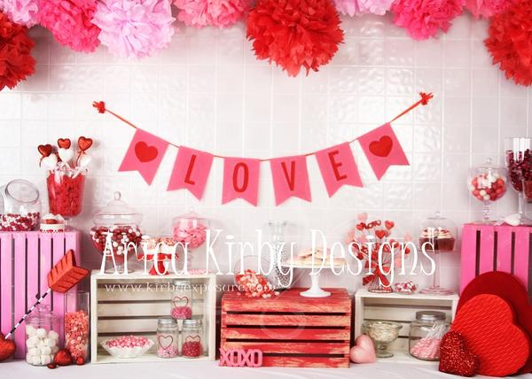 Kate Valentine Sweet Shoppe Backdrop designed by Arica Kirby