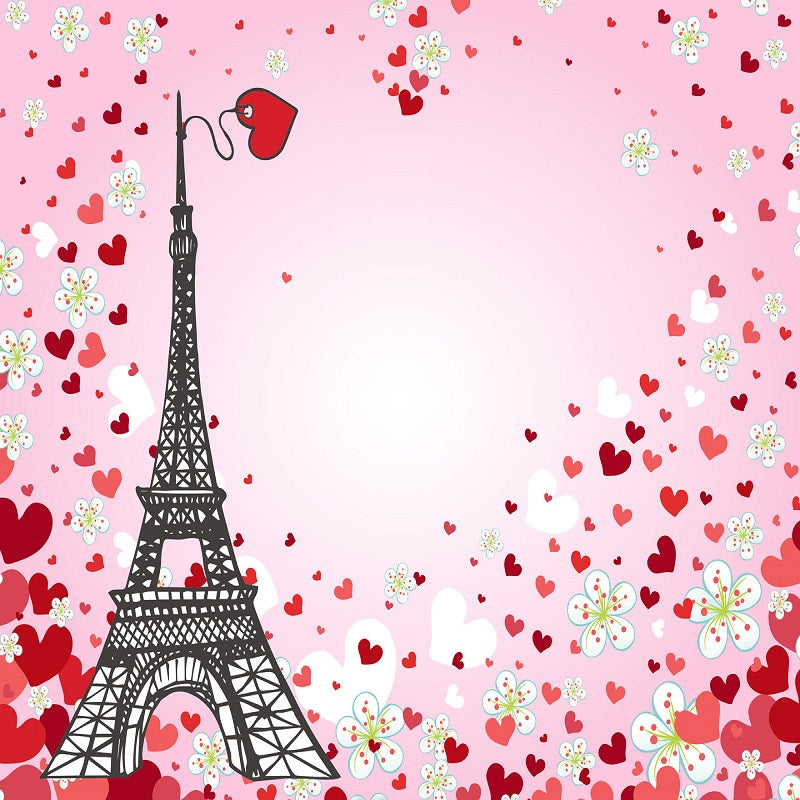 Kate Valentine's Day Eiffel Tower Backdrop for Photography