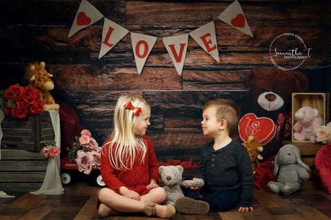 Kate Be my Valentine Wooden Wall And Teddy Bear Love Banner Backdrop Design by Shutter Swan Studios - Kate backdrops UK