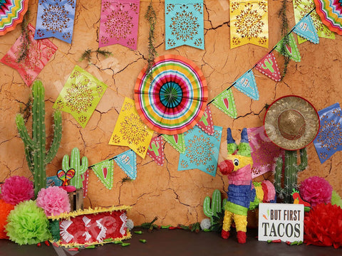 Kate Children's Playground With Banners Backdrop Cinco De Mayo Designed by Shutter Swan Studios