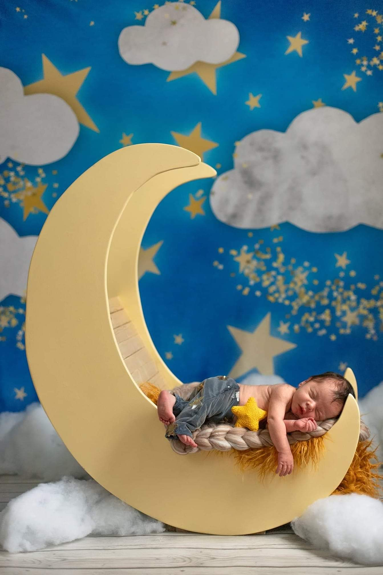 Load image into Gallery viewer, Kate Baby Skies Clouds With Tiny Stars Backdrop for Photography Designed by Mini MakeBelieve