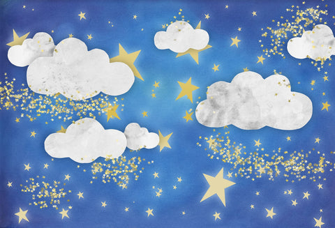 Kate Baby Skies Clouds With Tiny Stars Backdrop for Photography Designed by Mini MakeBelieve - Kate backdrops UK
