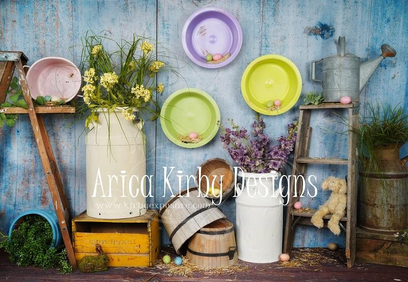 Kate Blue Easter Chicken Coop backdrop designed by Arica Kirby - Kate backdrops UK
