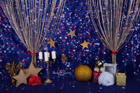 Kate blue red star backdrop for cake smash Backdrop designed by Studio Gumot - Kate backdrops UK