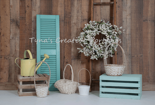 Load image into Gallery viewer, Kate Wood Wall Flowers Basket Decorations Spring Backdrop for Photography Designed by Tyna Renner