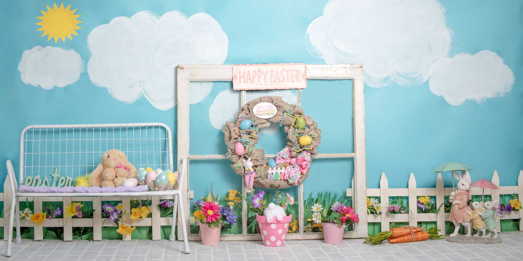 Load image into Gallery viewer, Kate Rabbits Decorations Easter Spring Children Backdrop for Photography Designed by Erin Larkins