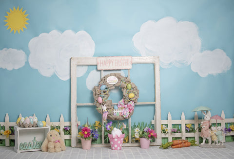 Kate Rabbits Railing Decorations Easter Spring Children Backdrop for Photography Designed by Erin Larkins