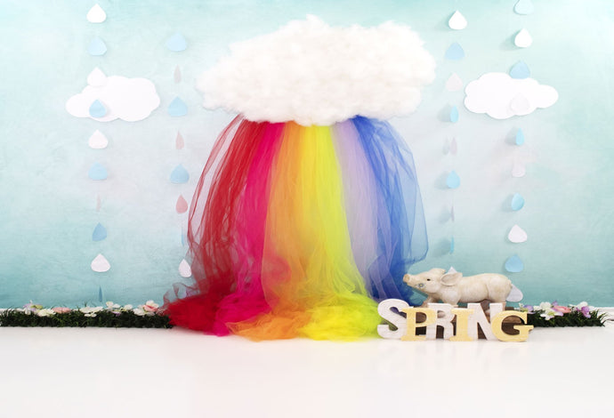 Kate Rainy Spring Rainbow with Decorations Children Backdrop for Photography Designed by Leann West