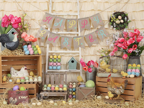 Kate Colorful Eggs Happy Easter Backdrop Designed by Shutter Swan Studios