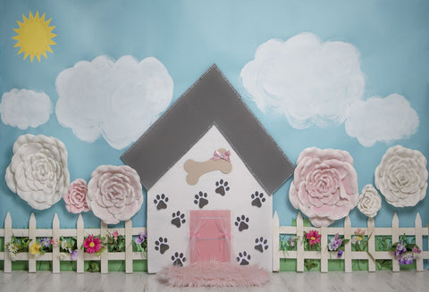 Kate Pet Park Railing with flowers Spring Children Backdrop for Photography Designed by Erin Larkins
