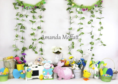 Kate Children's Paradise Rabbits Decorations With Leaves Banner Backdrop for Photography Designed by Amanda Moffatt