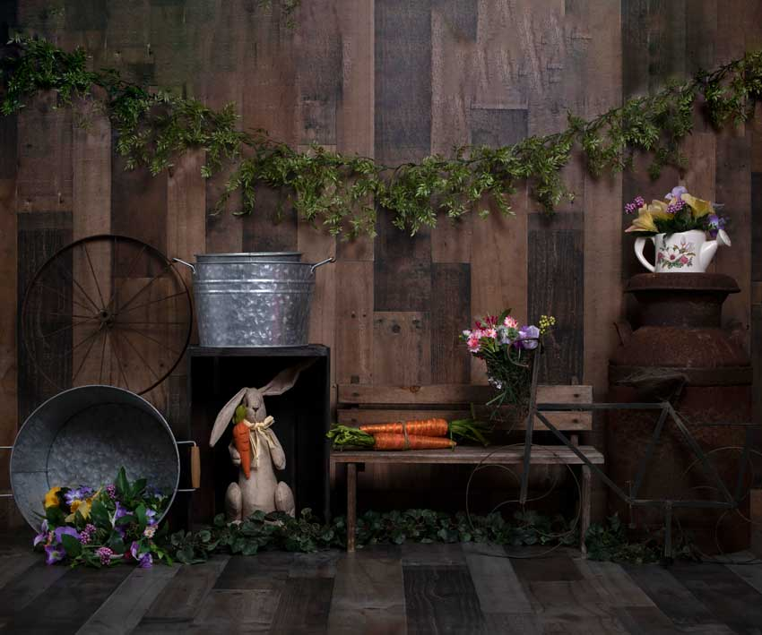Load image into Gallery viewer, Kate Wood Background with Rabbits Decorations Easter Spring Children Backdrop for Photography Designed by Erin Larkins