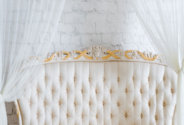 White Wall with Curtains  Headboard
